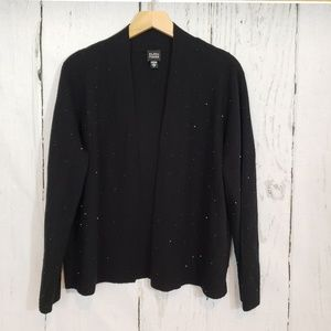 Eileen Fisher Large black sparkly open Cardigan